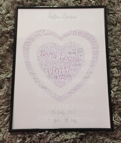 Baby Heart Print Framed **PERSONALISED**